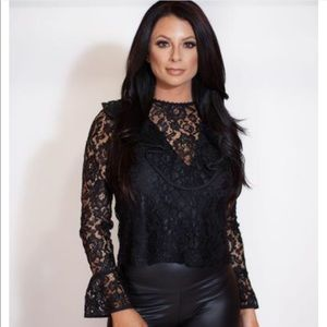 Tops - Ruffle V-Neck Lace Top